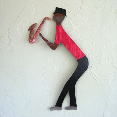 Custom Made Handmade Upcycled Metal Musician Wall Art Sculpture