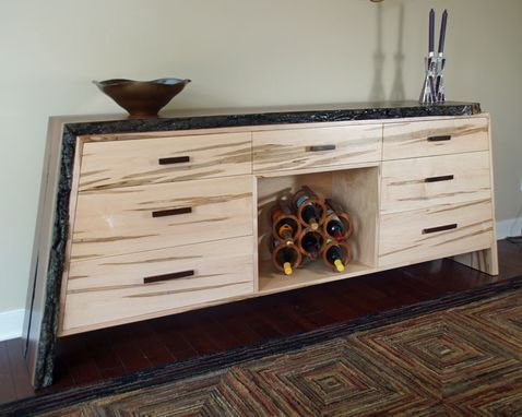 Custom Made Credenza, Live Edge Walnut And Maple