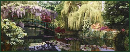 "Custom Made Garden Painting: ""Weeping Willow Serenade"""