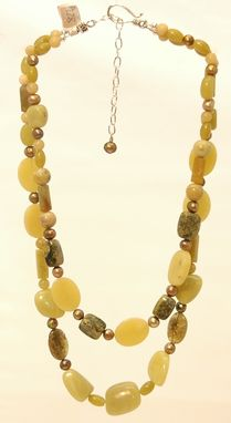 Custom Made New Jade, Green Garnet, Jasper And Pearl Double Strand Necklace