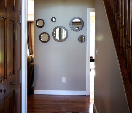 Custom Made Round Wall Mirrors- Solid Walnut Set Of 6 Porthole Mirrors