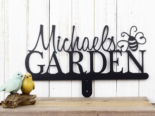 Custom Made Personalized Garden Metal Name Sign, Bumble Bee - Matte Black Shown