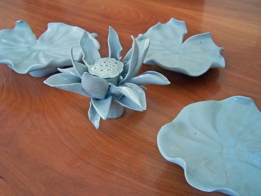 Custom Made Water Lily Pond Porcelain Table Centerpiece