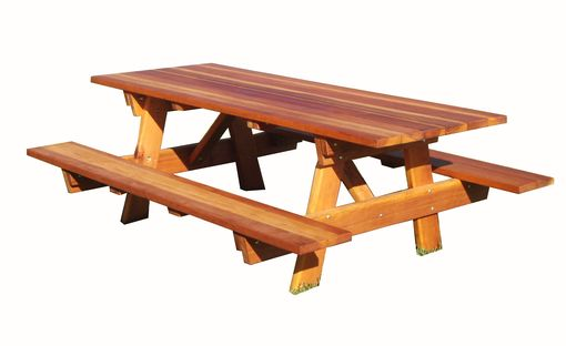 Custom Made 5ft Redwood Picnic Table With Attached Benches.