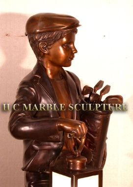 Custom Made Classic Little Golfer Bronze Sculpture Lantern