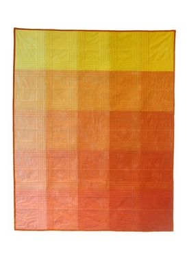 Custom Made Hand-Dyed Color Block Quilt: Orange