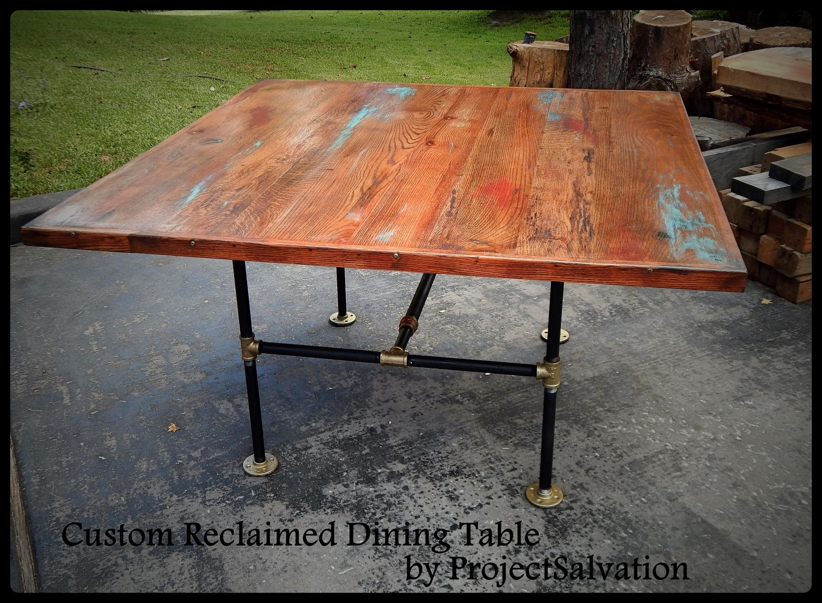 Reclaimed Oak Dining Table Hand Made Custom Reclaimed Oak Dining Table Industrial Table