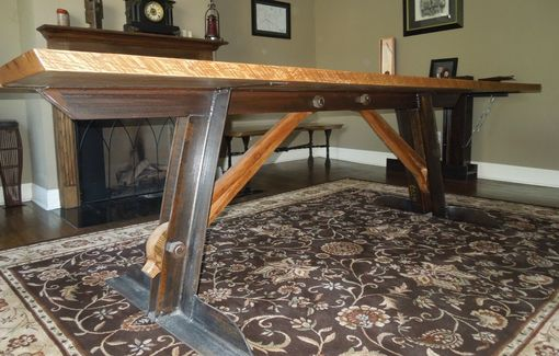 Custom Made Reclaimed Oak And Steel Dining Table.