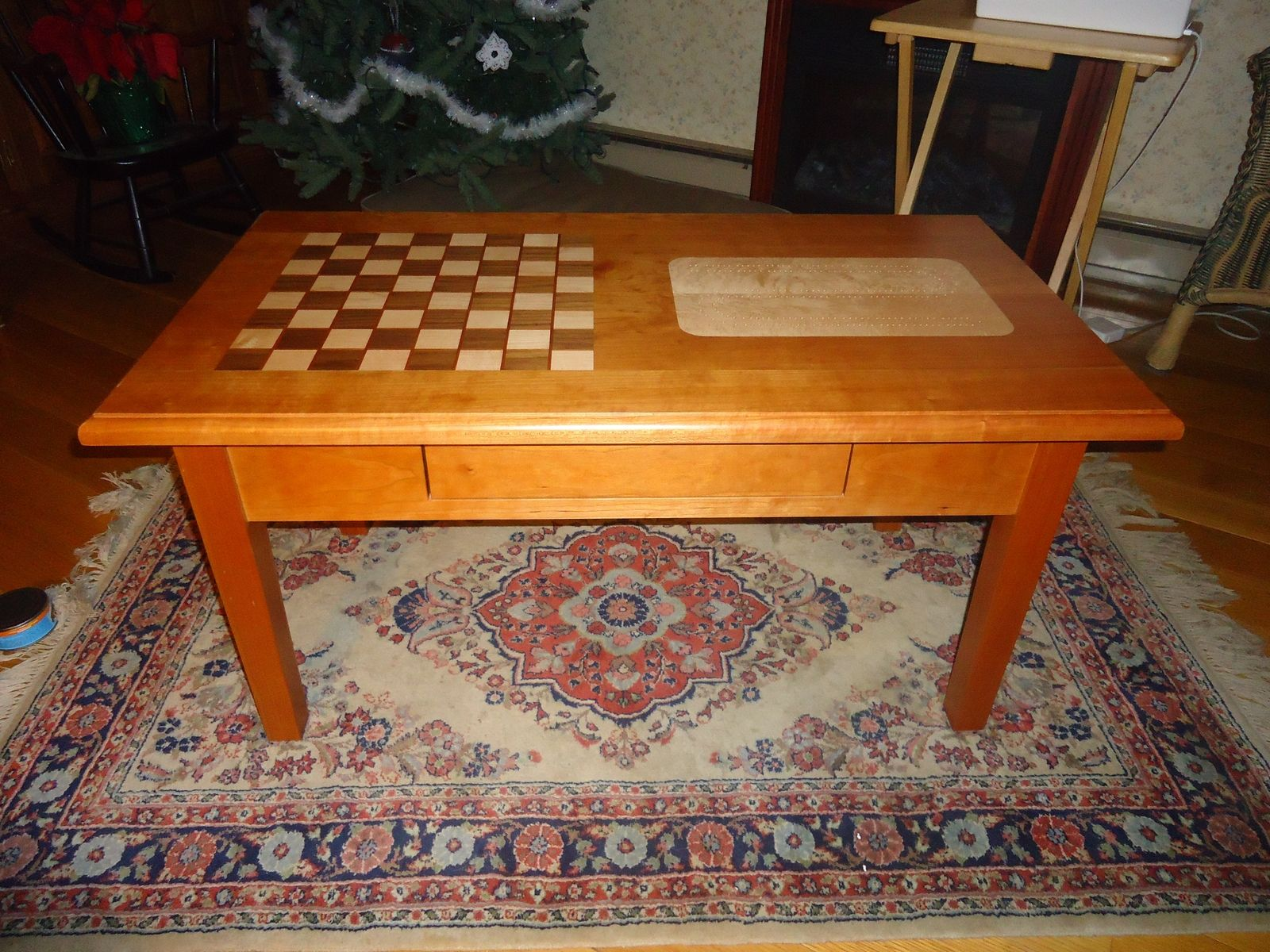 Hand Made Chess Cribbage Coffee Table By Hitchcock Construction Llc Woodworking Custommade Com