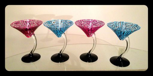 Custom Made Hand Painted Martini Glasses. Pink And Blue