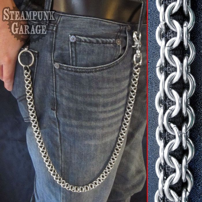 Custom wallet chain stainless steel inverted round by for How to make a paracord wallet chain