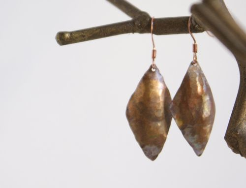 Custom Made Hand Forged Upcycled Diamond Copper Earrings