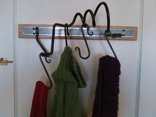 Custom Made Hardwood And Iron Wall Rack
