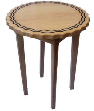 Custom Made Maple Side Table With Scalloped Edge & Tapered Legs