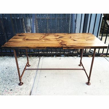 Custom Made Industrial Pine And Pipe Dining Table - 4ft