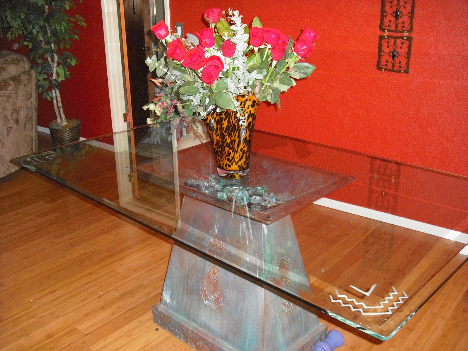 Hand Crafted Custom Dining Table Pedestal With Carved Glass Top By