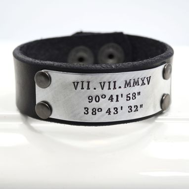 Custom Made Leather Cuff Bracelet For Men Or Women Personalized With Roman Numerals Dates Or Names