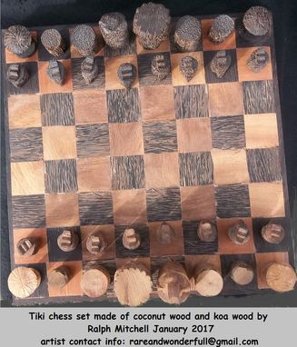 Custom Made Tiki Carved Coconut And Koa Chess Board