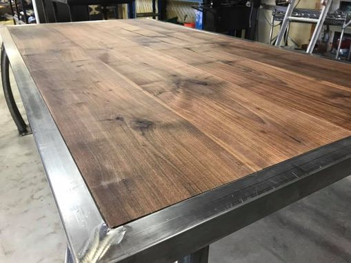Custom Made Walnut And Cold Rolled Steel Dining Table