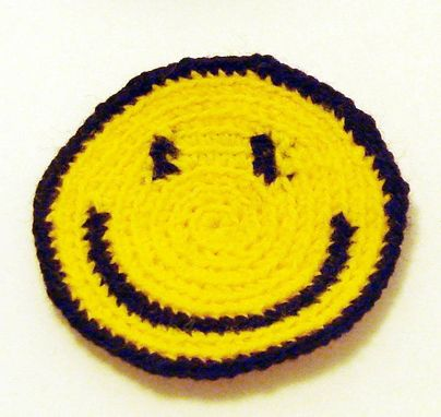 Custom Made Crocheted Smiley Patch In Classic Yellow