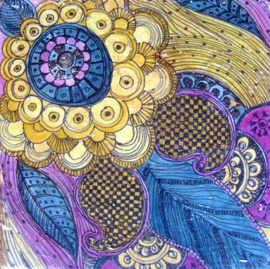 "Custom Made Decorative Stone Tile-6""X6"" Handmade With Paisley Design Purple Ochre Blue"