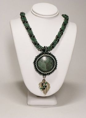 Custom Made Forest Green, Black Diamond And Black Necklace With 35mm Leaf Jasper Pendant