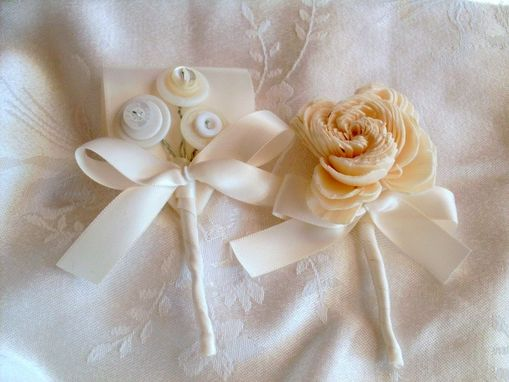 Custom Made Cream Sola Rose Wedding Boutonniere