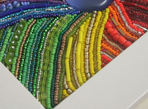 "Custom Made Bead Embroidered Painting ""Colors Of The Rainbow"""