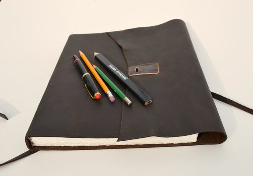 Custom Made Large Brown Leather Bound Journal Ledger Custom–Made-To Order Planner