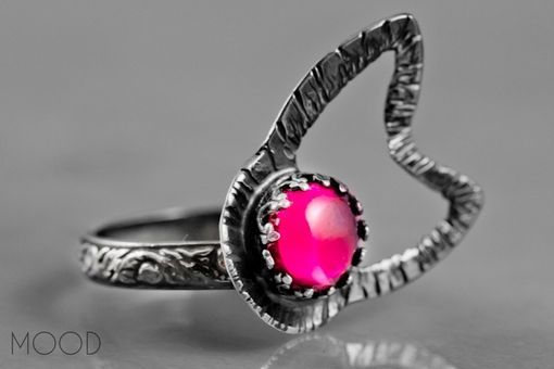 Custom Made Ruffled Pink - One Of A Kind Ruffled Flower Ruby Gemstone Ring In Argenitium Sterling Silver - Size 8.75