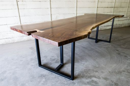 Custom Made Modern Black Walnut Live Edge Dining / Conferencetable