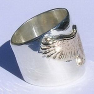Custom Made Gold Hawk Ring