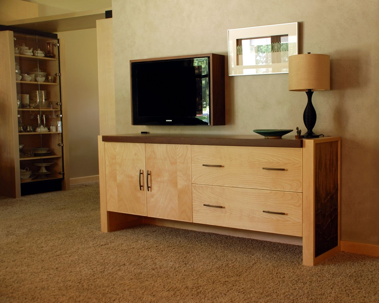 custom credenza w tv surround by third street studios. Black Bedroom Furniture Sets. Home Design Ideas