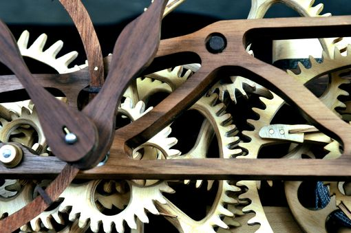 Custom Made Hand Carved Wooden Gear Clock