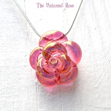 Custom Made Rose Necklace, Handblown Lampwork Pendant, Pink And Gold