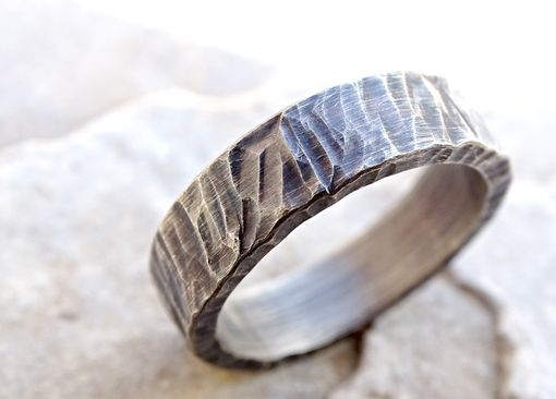 Buy A Hand Crafted Rugged Silver Wedding Band Cool Mens