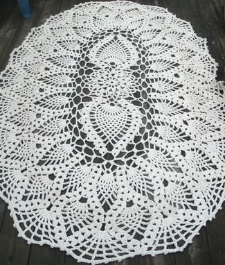 Custom Made Cotton Crochet Rug In Huge 7 Foot Oval Pineapple Pattern