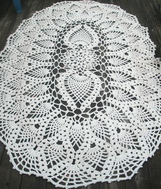 Handmade Cotton Crochet Rug In Huge 7 Foot Oval Pineapple