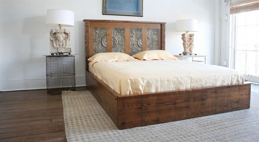 Custom Made Queen Platform Bed Made From Reclaimed New Orleans Homes And Victorian Ceiling Tin
