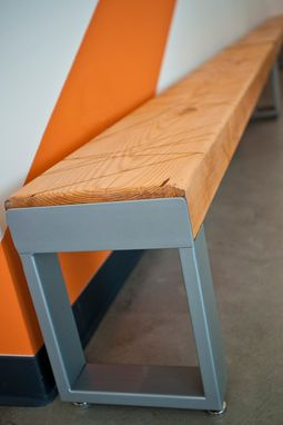 Custom Made Recycled Wood And Metal Scratch Bench With Adjustable Feet