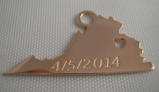 Custom Made Custom State Pendant With Engraving