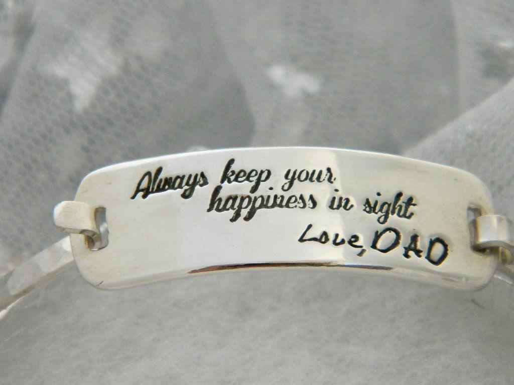 Custom In Memory Of Dad Sterling Silver Bracelet By