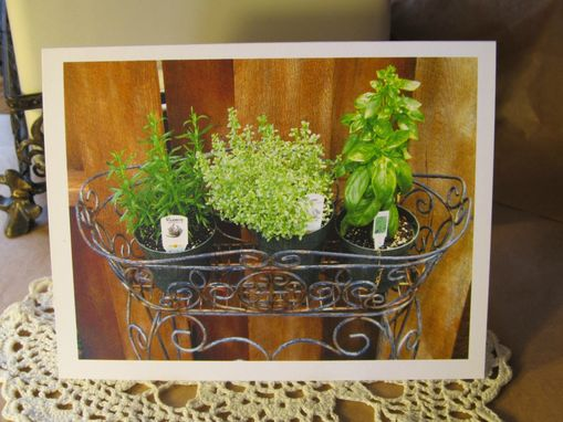Custom Made Note Card Pack Of Ten With Envelopes, Herb Garden , All Purpose,Blank Inside, In Plastic Sleeve