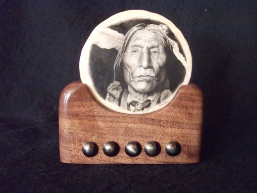 "Custom Made ""Wolf Robe"" Scrimshaw Display Piece"