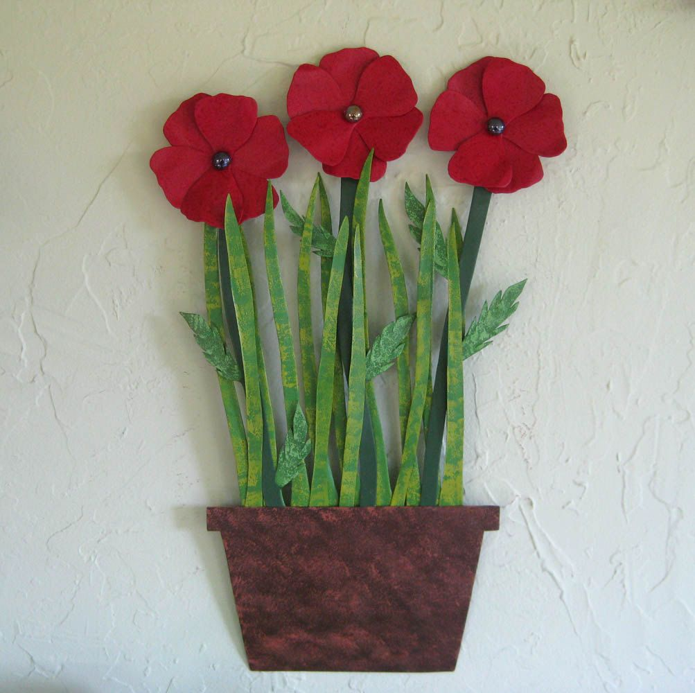 Metal Flower Wall Art buy a hand made metal flower wall art sculpture - poppies
