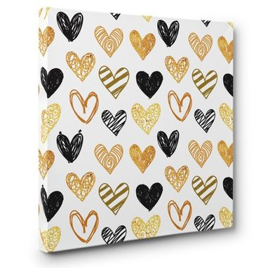 Custom Made Black And Gold Teen Room Hearts Canvas Wall Art