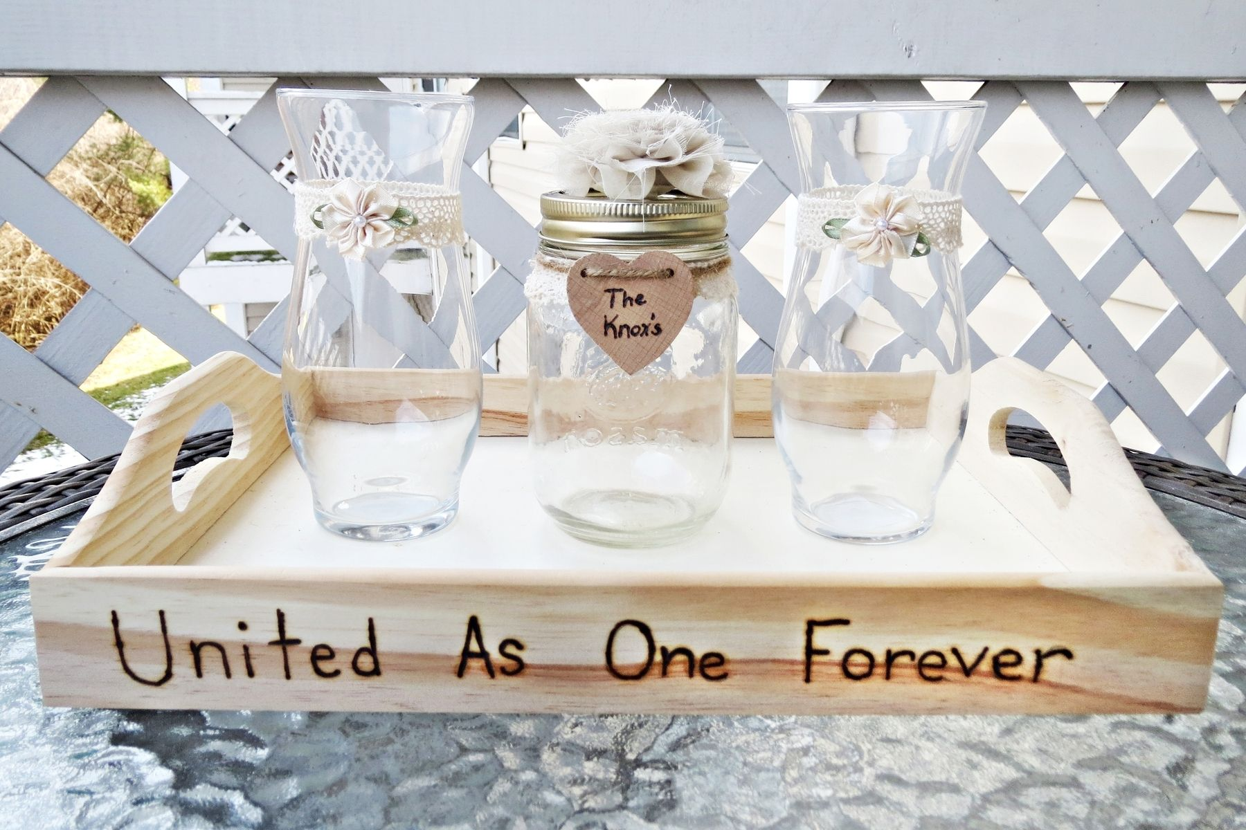 Handmade Wedding Unity Sand Ceremony Set With Lace Flower Amp Tray By Knox Wedding Shop