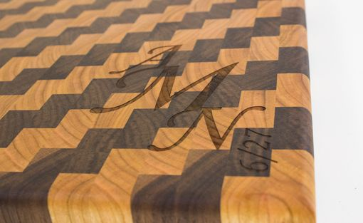 Custom Made Custom Engraved Cherry And Walnut End Grain Cutting Board