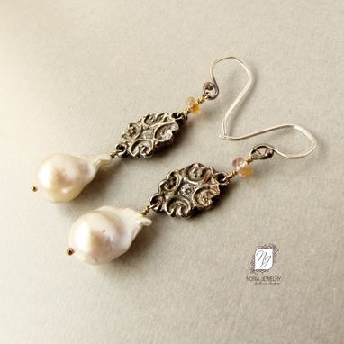 Custom Made Fine .999 Silver Flameball Baroque Freshwater Pearl Earrings, Peach Spinel Gemstone