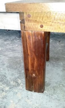 Custom Made Farmhouse Coffee Table Hand Hewn Legs Solid Cherry Top